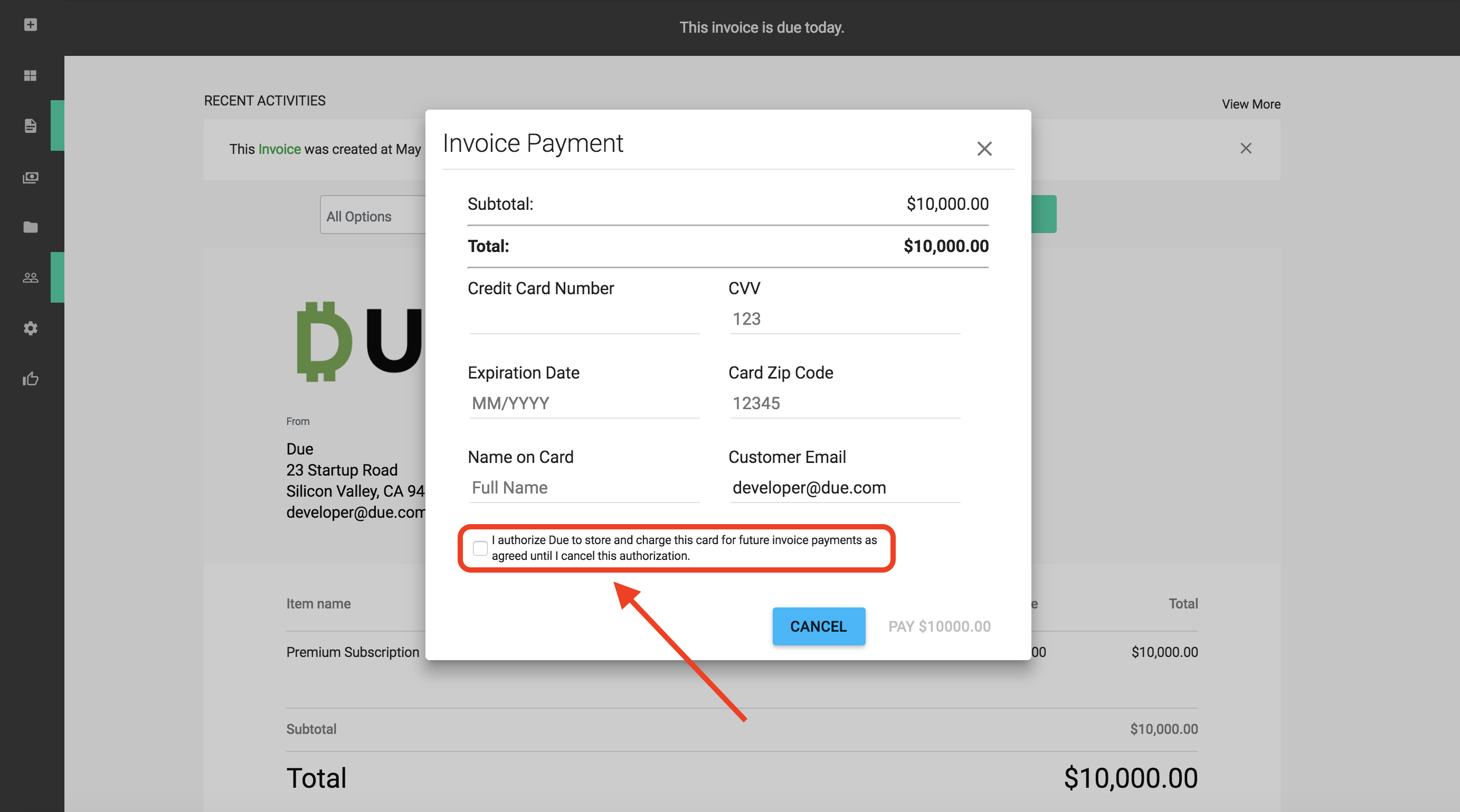 How To Use Recurring Invoices Due - Invoice template with credit card payment option
