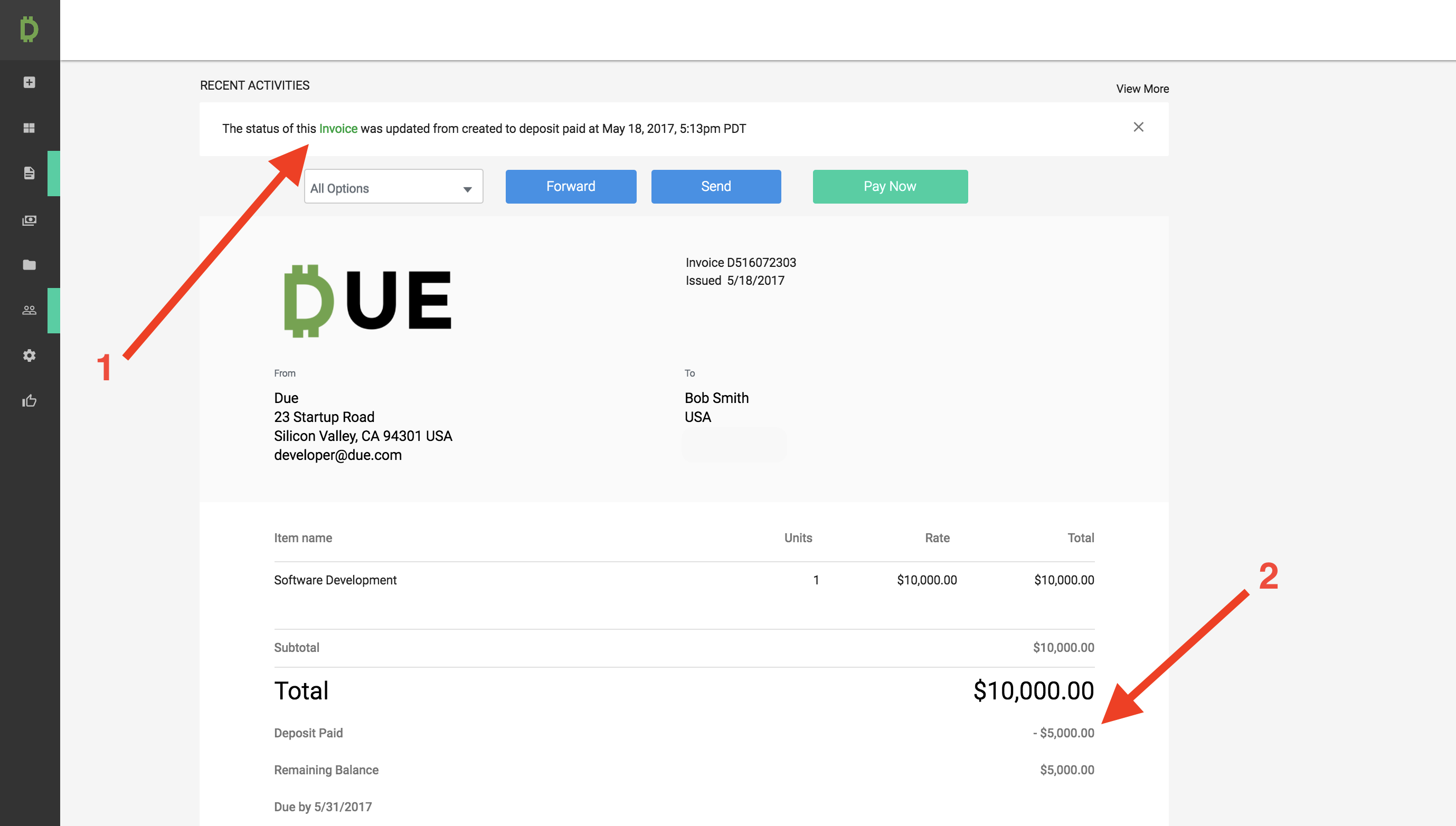 How To Request Deposits On Invoices Due - Invoice request